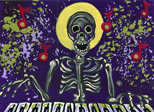 ACEO ATC -Free Shipping-Day of the Dead Halloween Art Piano Music Man Skeleton-Carla -