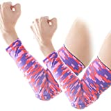 COOLOMG (Pair Youth/Adult Padded Arm Sleeves Protector Gear Basketball Baseball Football Digital Camo Pink Small