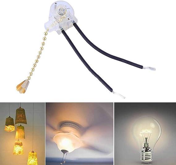 Uonlytech 3 velocidades Cadena de Repuesto para Interruptor Accesorio de iluminaci/ón para Ventilador de Techo