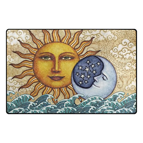 TSWEETHOME Doormat Area Rugs Outdoor Inside Mats Personalized Welcome Mats with Moon Sun Art Painting for Chair Mat and Decorative Floor Mat for Office and Home (31 x 20 in & 60 x 39 in) -