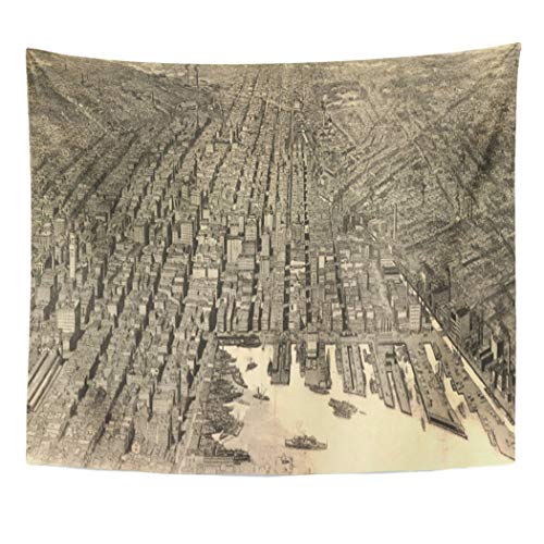 Semtomn Tapestry Artwork Wall Hanging Maryland Vintage Map of Baltimore Old Historical 60x80 Inches Tapestries Mattress Tablecloth Curtain Home Decor Print