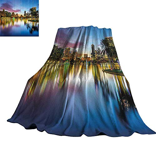 WinfreyDecor Wide Tap Reversible Blanket Famous USA Urban Downtown View of Orlando Florida from EOLA Lake Romantic Scene 50