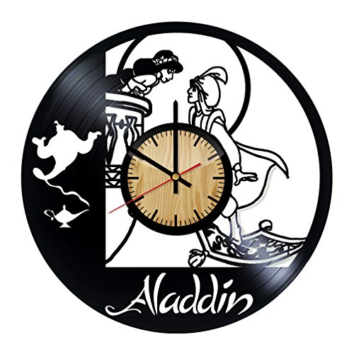 ForLovedGifts Aladdin and Jasmine Disney Design Vinyl Wall Clock - Handmade Gift for Any Occasion - Unique Birthday, Wedding, Anniversary, Wall décor Ideas for Any Space