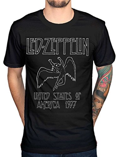 AWDIP Men's Official Led Zepplin United States Of America 1977 T-Shirt Album Music Rock Band