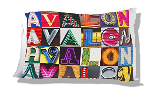 Personalized Pillowcase featuring AVALON in photos of sign letters ()