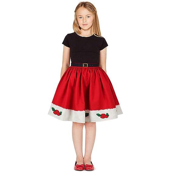 FELZ Vestido para Niñas, Falda de Princesa de Navidad Impresa en ...