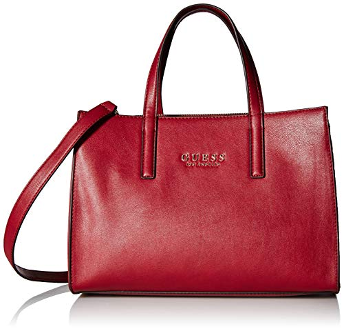 Lambskin Red Handbag (GUESS Sienna 2 in 1 Society Satchel, red)