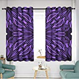 Thermal Insulated Blackout Curtains W 55' XL 39' Seamless Art Deco Floral Pattern with Modern Style Ornament on Color Background for Wallpaper Cover Book Fabric scrapbooks 12