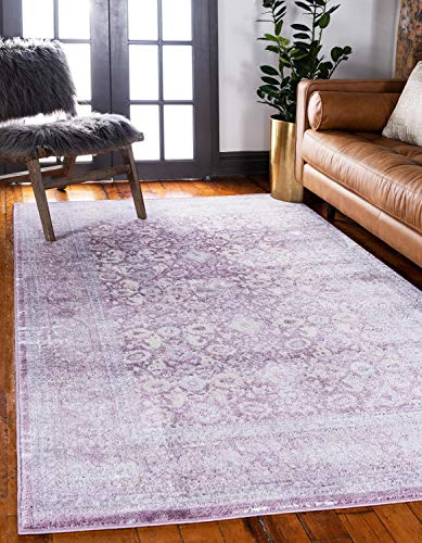 - Unique Loom Leila Collection Distressed Traditional Vintage High & Low Textured Pile Violet Area Rug (5' 0 x 8' 0)