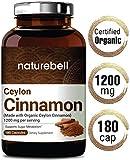 Maximum Strength Organic Ceylon Cinnamon 1200mg, 180 Capsules, Blood Sugar, Vascular, Joint and Antioxidant Support, No GMOs, Made with Organic Ceylon Cinnamon