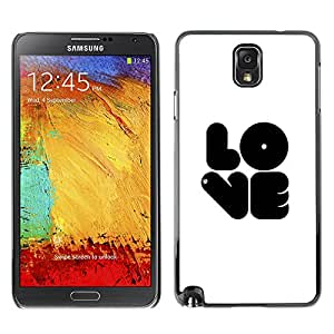 Planetar® ( Love Bubblegum White Black Text White ) SAMSUNG Galaxy Note 3 III / N9000 / N9005 Fundas Cover Cubre Hard Case Cover