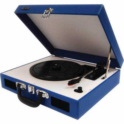Jensen JTA-410-BL Portable 3-Speed Stereo Turntable with Built-In Speakers (Blue)