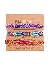 KELITCH Crystal Shell Seed Beads Pendant Tassel Friendship Bracelets Hand Woven Fashion Jewelry Bangles 3pcs