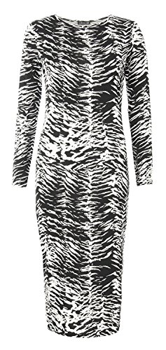 Womens Aztec Skull Lips And Leopard Print Long Sleeves Midi Dress