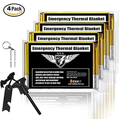 EVERLIT Mylar Emergency Blanket + Bonus Fire Starter & Whistle |Thermal Blanket Designed NASA| Perfect Outdoor Gear for Hiking, Camping, Travel, Survival Kit, Bug Out Bag, First Aid Kit.