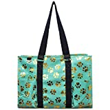 NGIL All Purpose Organizer 18'' Large Utility Tote Bag 2018 Spring Collection (Gold Puppy Paw Mint)