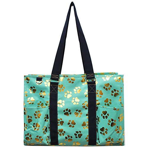 NGIL All Purpose Organizer 18'' Large Utility Tote Bag 2018 Spring Collection (Gold Puppy Paw Mint) by NGIL