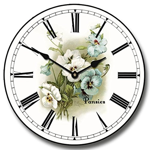 White Pansies Wall Clock, Available in 8 sizes, Most Sizes Ship 2 - 3 days, Whisper Quiet. -