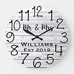 TattyaKoushi 12 x 12 Wall Clock, Rustic Personalized Gray Distressed Wood Custom Clock, Decorative Indoor Kitchen Clock