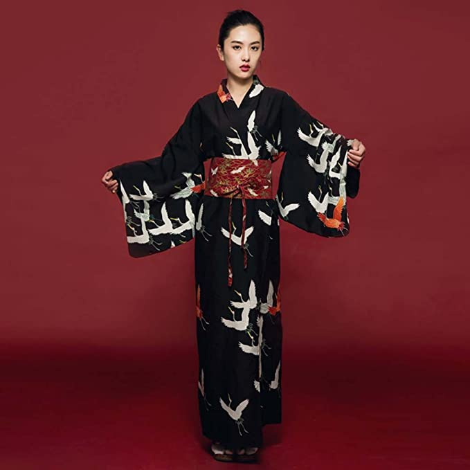 Japanese Style Retro Women Kimono Dress Costume Bathrobe with Waistband