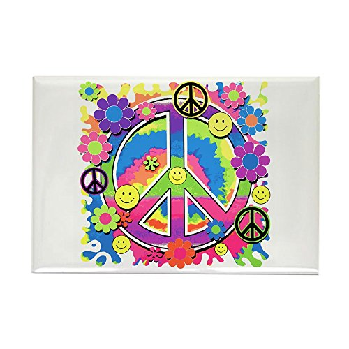 Rectangle Magnet Neon Smiley Face Floral Peace Symbol