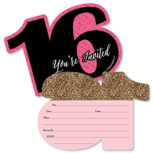 Chic 16th Birthday - Pink, Black and Gold - Shaped Fill-in Invitations - Birthday Party Invitation Cards with Envelopes - Set of 12 ()