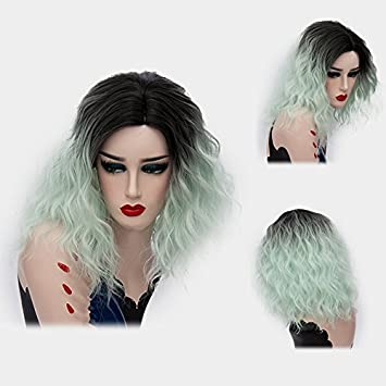 Amazon.com: Alacos 35cm Fashion Black Dark Roots Ombre Short Curly Bob Christmas Daily Costumes Wig for Women +Wig Cap (Pale Green): Beauty