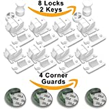 Image of Magnetic Cabinet Lock Set of 8 + 2 Keys | Baby Proofing Cabinets and Drawer Lock | BONUS 4 Corner Guards