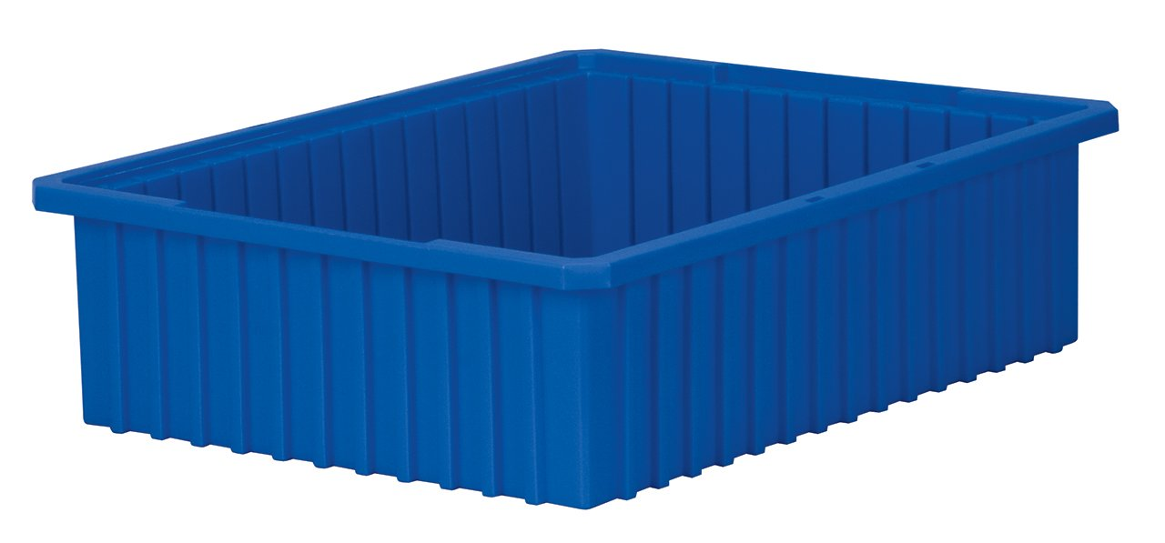 Akro-Mils 33226 Akro-Grid Slotted Divider Plastic Tote Box, 22-3/8 -Inch Length by 17-3/8-Inch Width by 6-Inch Height, Case of 4, Blue