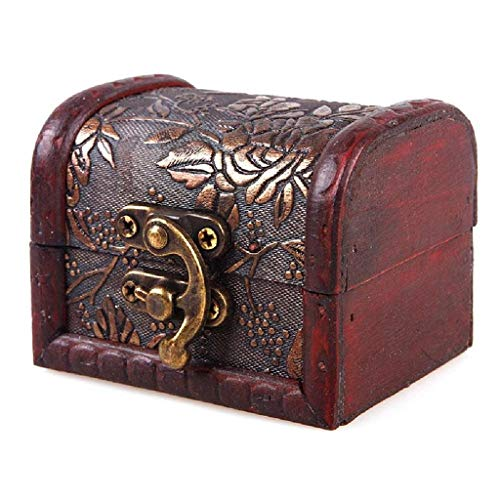 AckfulJewelry Box Vintage Wood Handmade Box with Mini Metal Lock for Storing Jewelry Treasure Pearl