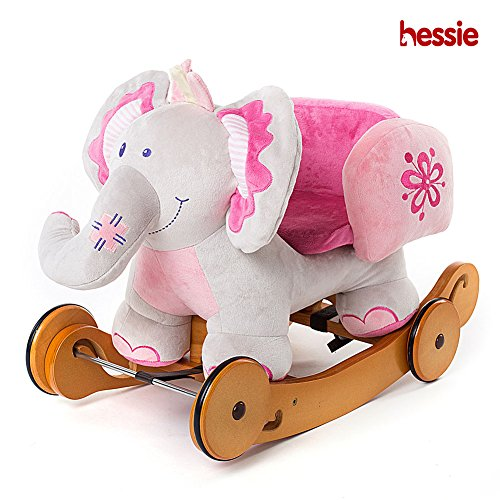 Hessie Modern Plush Rocking Horse with Soft Cute Stuffed Animal, Indoor Ride On Toys Rockers with Wheels for Toddlers Kids Little Boys & Girls (6-36 Months) - Padded Pink Elephant with Sound Paper by Hessie