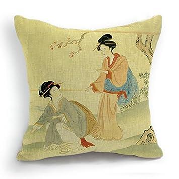 Telisha Retro Style Yellow Two Japanese Geisha Women Home Decor Throw Cushion Cover Pillow Case Sham 18 45CM