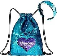 Mermaid Reversible Sequin Drawstring Backpack with Headband Set, Magic Glittering Dance Drawstring Gym Bags, B