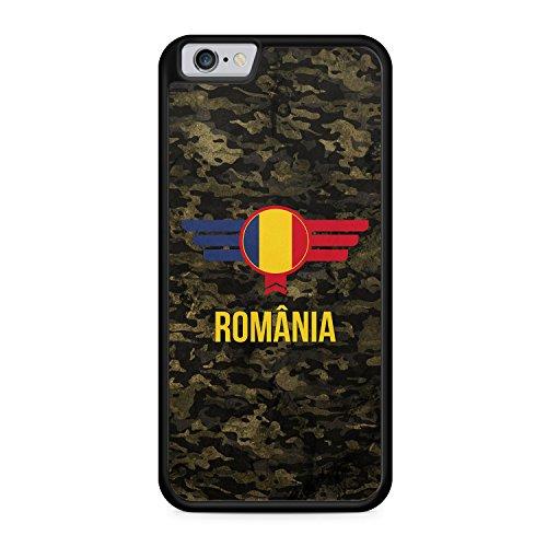 Romania Rumänien Camouflage mit Schriftzug - Hülle für iPhone 6 Plus & 6s Plus SILIKON Handyhülle Case Cover Schutzhülle - Bedruckte Flagge Flag Military Militär