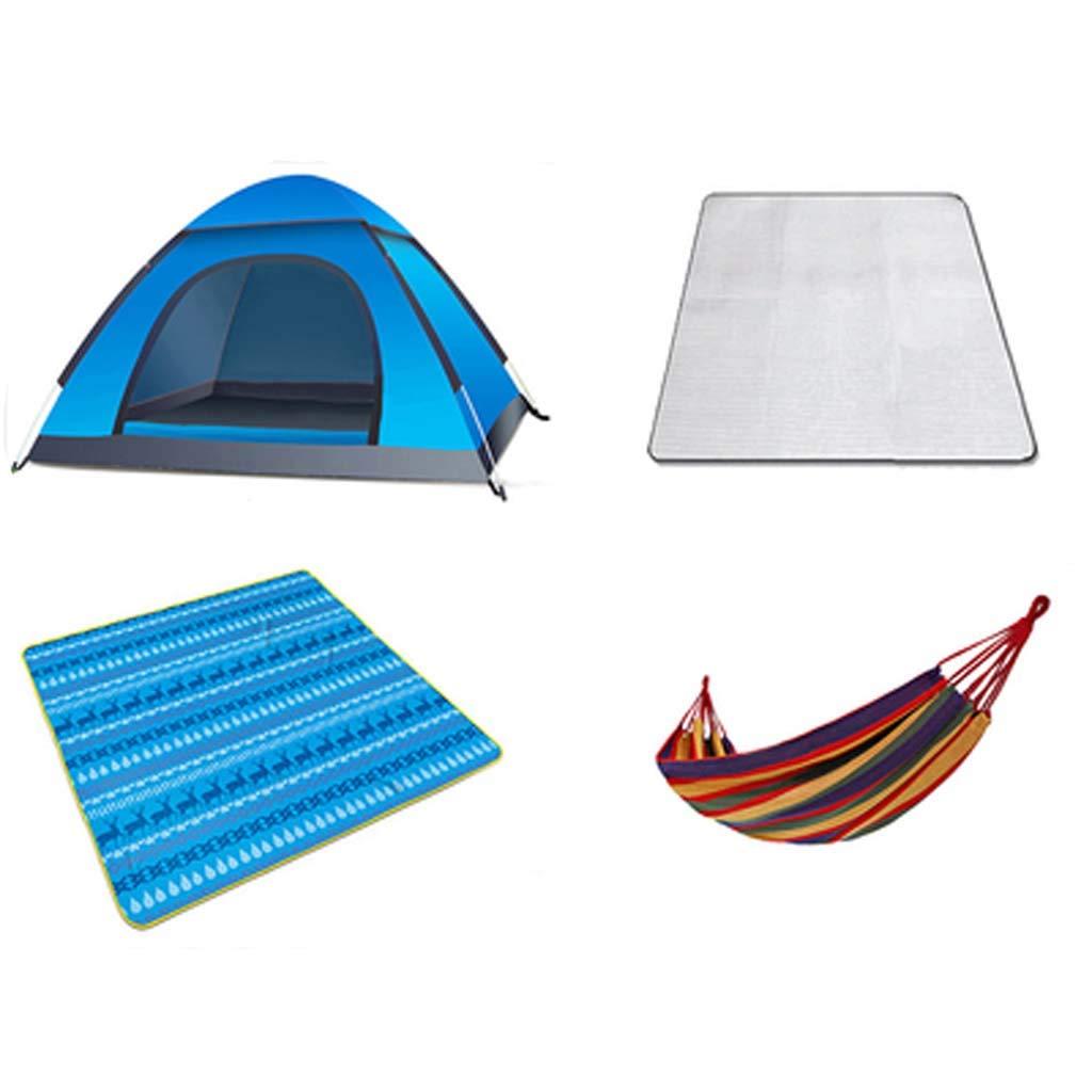 MANHERO テント、屋外テント、春、夏、秋、完全自動家庭の防雨、3-4人の使用、野生、キャンプキャンプ、登山+マット+ピクニックマット   B07L2MWTCH