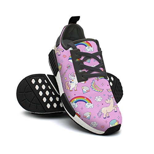 Pink Mesh Sneaker Rainbow Star FAAERD Lightweight Womens Diamond Tennis Breathable Unicorn Shoes Print Fashion 16EWwqU