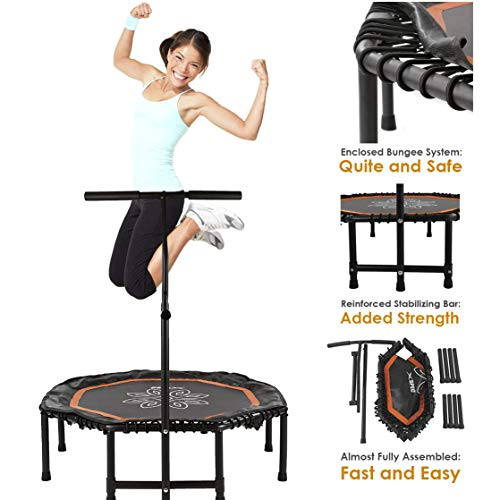 """Xspec 44"""" Silent Fitness Mini Trampoline with Adjustable Handrail Bar, Orange & Black - Indoor Rebounder for Adults - Best Cardio Jump Fitness Low Impact Workout Trainer, Covered Bungee Rope System"""