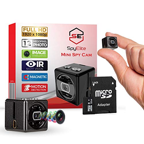 Mini Hidden Wireless 1080p Video Security Spy Camera for Indoor/Outdoor Surveillance - Free 32GB Card - Portable Small Eye Micro in Home Nanny Cam - Night Vision/Motion Detection Minicamera- No ()