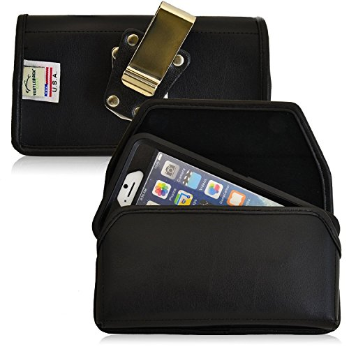 Turtleback Belt Case Compatible with Apple iPhone 6s, iPhone 6 w/Otterbox Defender case Black Holster Leather Pouch with Heavy Duty Rotating Ratcheting Belt Clip Horizontal Made in USA ()