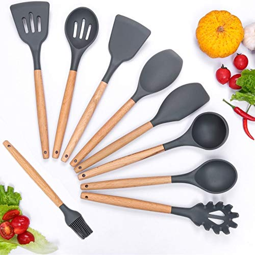 (Silicone Cooking Utensils Set, Kitchen Utensil Set of 9 Packs Wooden Cooking Utensils, Rubber Spatula Spoon Set Tools for Cooking, Hand Wash, Grey)