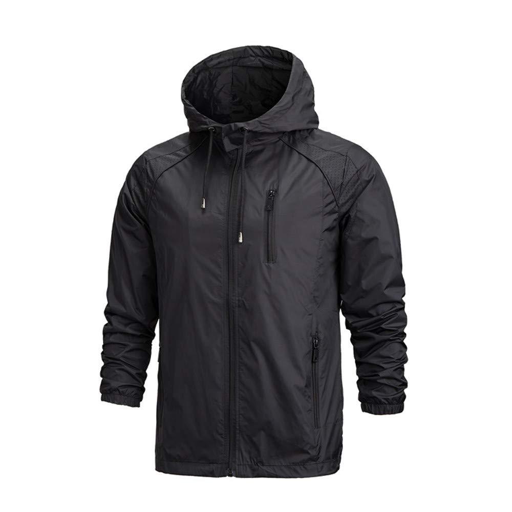 YOcheerful Men Coat Gilet Waterproof Hooded Pullover Solid Raincoat Poncho Trendy Rain Jacket Rain Coat