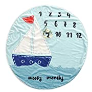 Olpchee Flannel Round 0-1 Years Infant Baby Monthly Swaddle Milestone Blanket for Shower Gift Photography Backdrop (Sailboat)