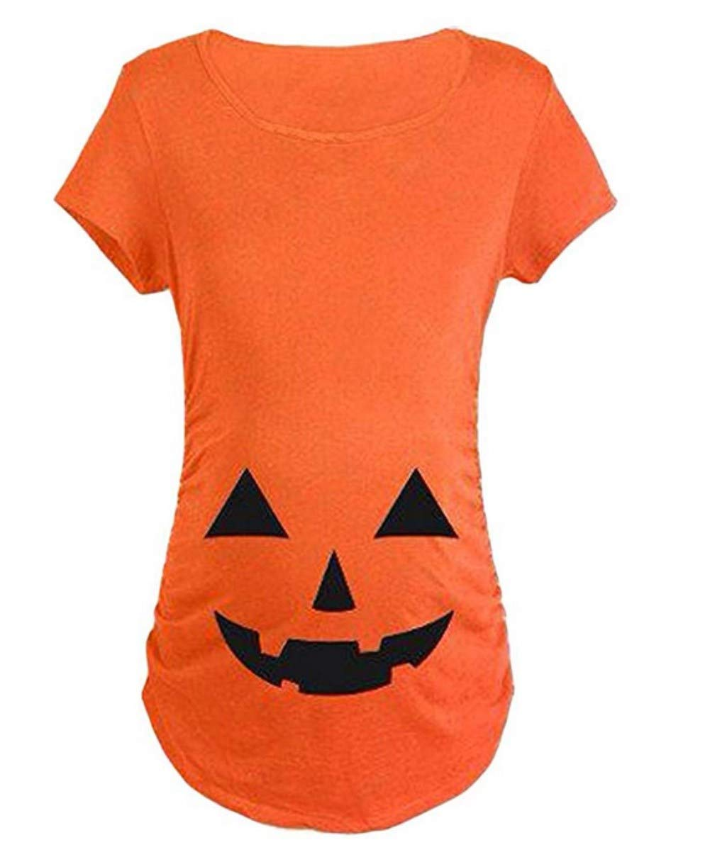 Maternity Halloween Pumpkin T Shirt Funny Pregnancy Tee Expecting Mothers Size L (Orange)