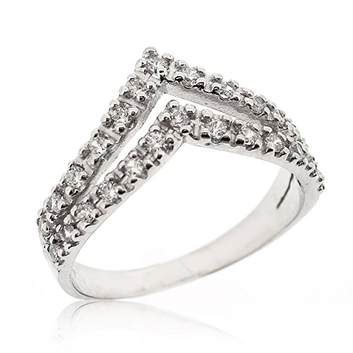 SOVATS Double Chevron Ring For Women Set With White Cubic Zirconia 925 Sterling Silver Rhodium Plated - Simple, Stylish &Trendy Nickel Free Ring, Size 9 ()