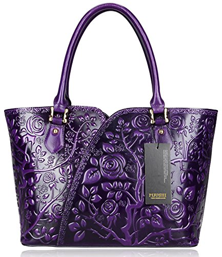 Pijushi Designer Floral Rose Ladies Handmade Leather Tote Shoulder Bags Satchel Handbags 22328 (one size, Purple)