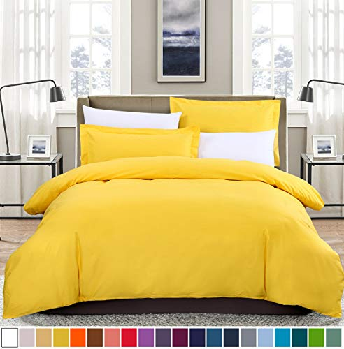 - SUSYBAO 2 Pieces Duvet Cover Set 100% Natural Cotton Twin/Single Size 1 Duvet Cover 1 Pillow Sham Bright Yellow Luxury Quality Soft Breathable Comfortable Fade Resistant Solid Bedding with Zipper Ties