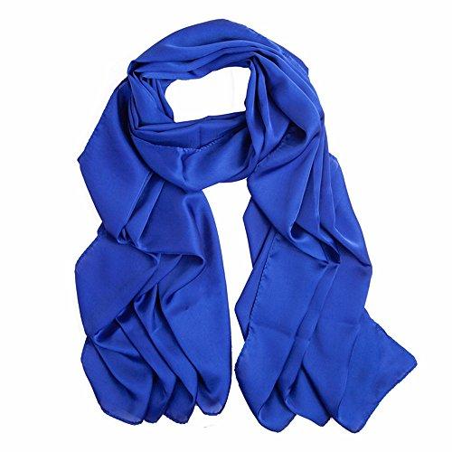 Solid color Fashion Scarf Chiffon Long Hijabs (Blue) - 1