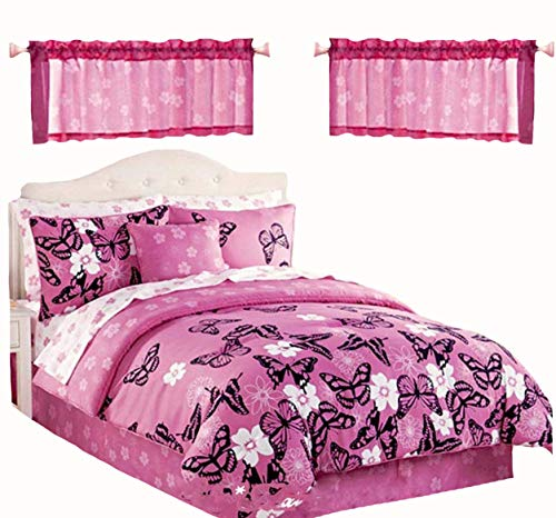 Butterfly Girls Pink & Black Reversible Comforter & Sheet Set + Two Window VALANCES + ONE TOSS PILOW (9pc Twin Size Room - Tailored Garden Valance