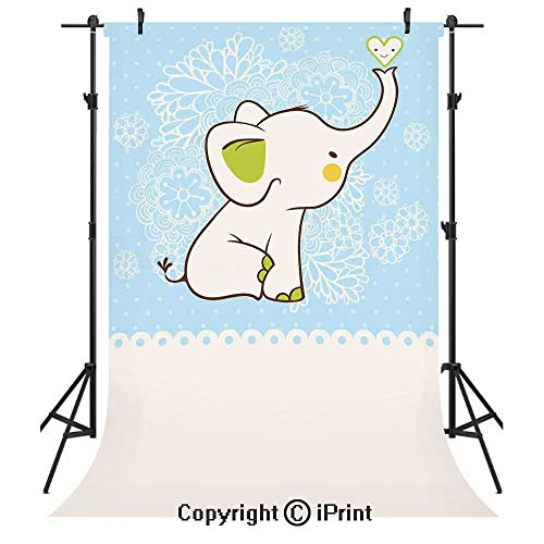 Kids Photography Backdrops,Elephant Invitation Flower Heart Cartoon Doodle Art Flower Retro Pattern Animals Themed Print,Birthday Party Seamless Photo Studio Booth Background Banner 3x5ft,