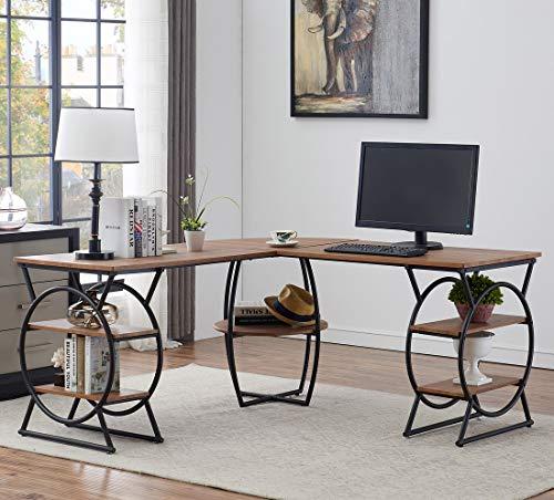 - O&K Furniture L-Shaped Desk Corner Computer Desk with Storage Shelves for Home Office, Oak